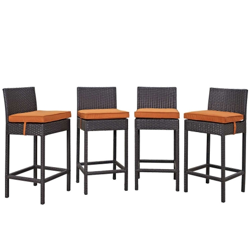 Convene 4 Piece Outdoor Patio Pub Set - Espresso Orange