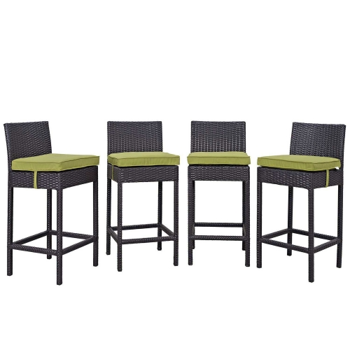 Convene 4 Piece Outdoor Patio Pub Set - Espresso Peridot