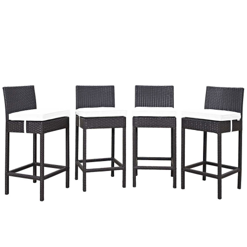 Convene 4 Piece Outdoor Patio Pub Set - Espresso White