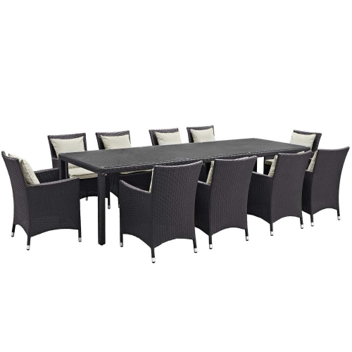 Convene 11 Piece Outdoor Patio Dining Set - Espresso Beige