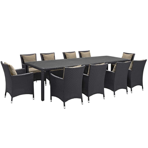 Convene 11 Piece Outdoor Patio Dining Set - Espresso Mocha