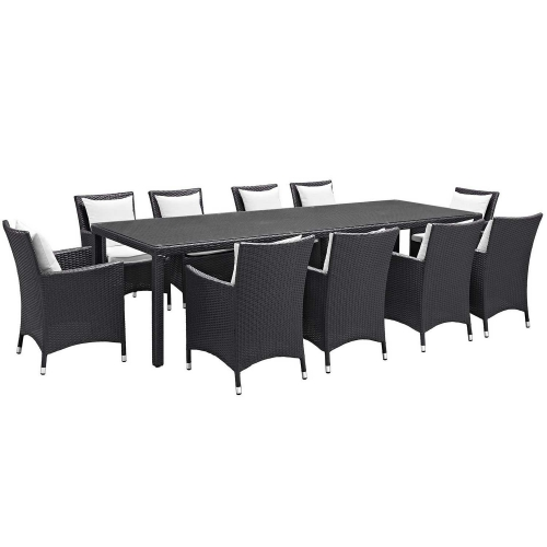 Convene 11 Piece Outdoor Patio Dining Set - Espresso White