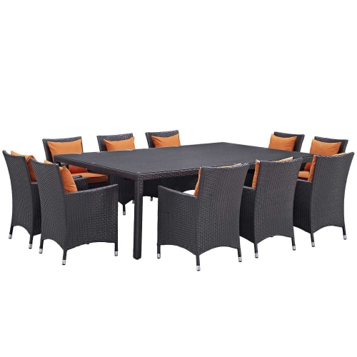 Convene 11 Piece Outdoor Patio Dining Set - Espresso Orange