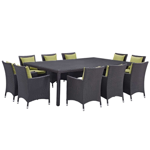 Convene 11 Piece Outdoor Patio Dining Set - Espresso Peridot