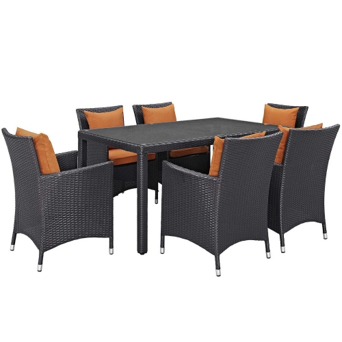 Convene 7 Piece Outdoor Patio Dining Set - Espresso Orange