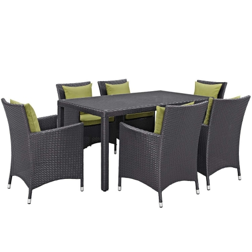 Convene 7 Piece Outdoor Patio Dining Set - Espresso Peridot