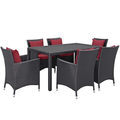 Convene 7 Piece Outdoor Patio Dining Set - Espresso Red