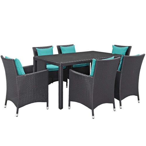 Convene 7 Piece Outdoor Patio Dining Set - Espresso Turquoise