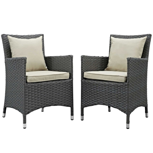 Sojourn 2 Piece Outdoor Patio Sunbrella Dining Set - Antique Canvas Beige