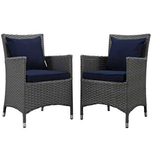 Sojourn 2 Piece Outdoor Patio Sunbrella Dining Set - Canvas Navy