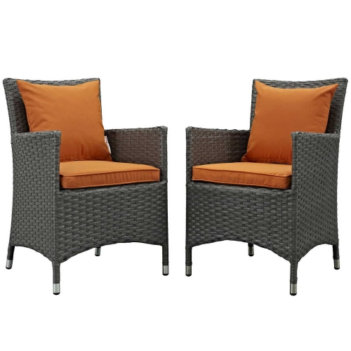 Sojourn 2 Piece Outdoor Patio Sunbrella Dining Set - Canvas Tuscan