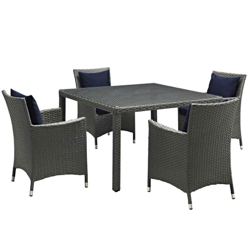 Sojourn 5 Piece Outdoor Patio Sunbrella Dining Set - Canvas Navy