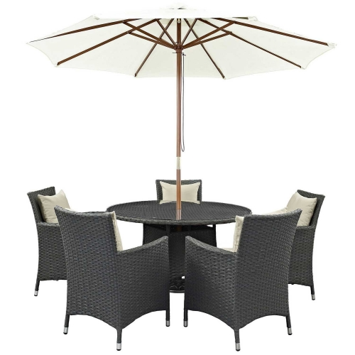 Sojourn 7 Piece Outdoor Patio Sunbrella Dining Set - Antique Canvas Beige