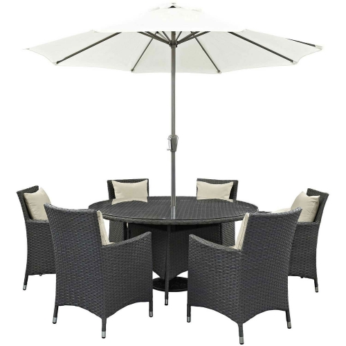 Sojourn 8 Piece Outdoor Patio Sunbrella Dining Set - Antique Canvas Beige