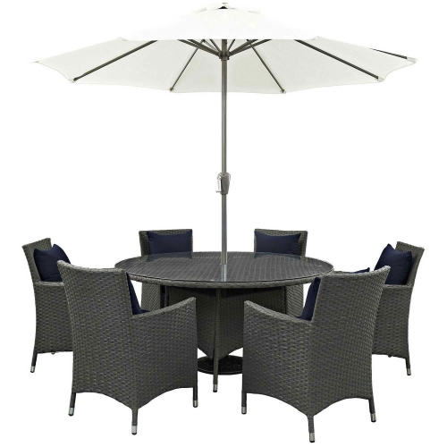 Sojourn 8 Piece Outdoor Patio Sunbrella Dining Set - Canvas Navy