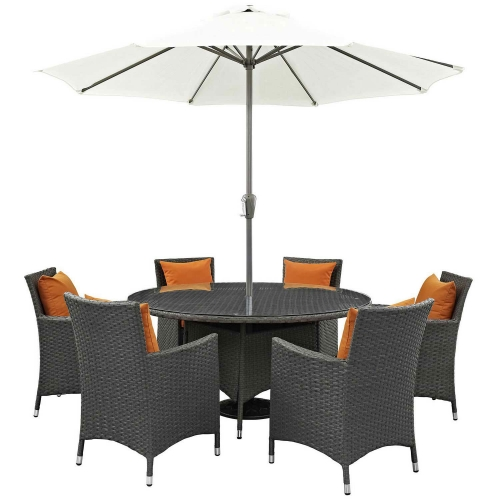 Sojourn 8 Piece Outdoor Patio Sunbrella Dining Set - Canvas Tuscan