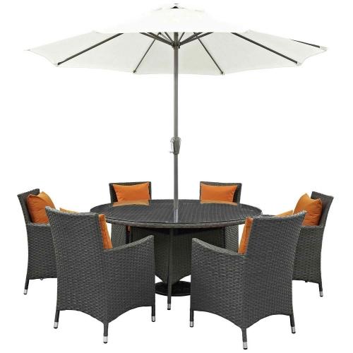 Sojourn 8 Piece Outdoor Patio Sunbrella Dining Set - Canvas Tuscan