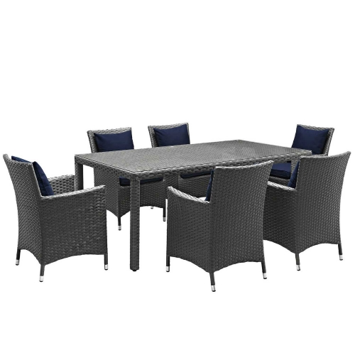 Sojourn 7 Piece Outdoor Patio Sunbrella Dining Set - Canvas Navy