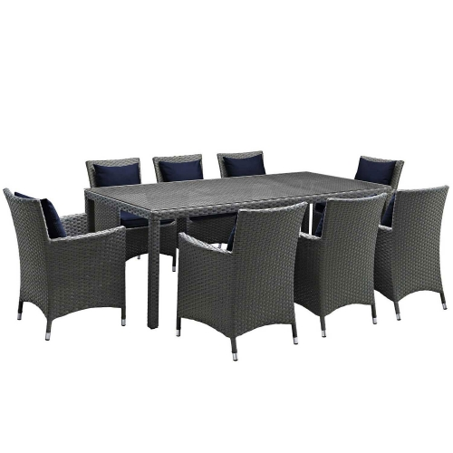Sojourn 9 Piece Outdoor Patio Sunbrella Dining Set - Canvas Navy
