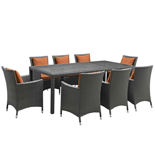 Sojourn 9 Piece Outdoor Patio Sunbrella Dining Set - Canvas Tuscan