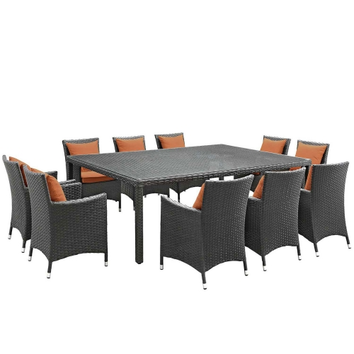Sojourn 11 Piece Outdoor Patio Sunbrella Dining Set - Canvas Tuscan