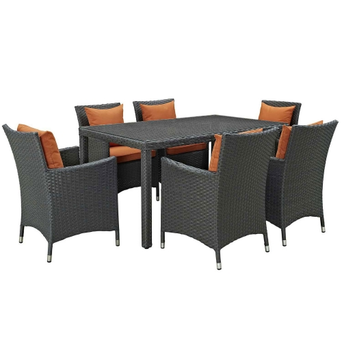 Sojourn 7 Piece Outdoor Patio Sunbrella Dining Set - Canvas Tuscan