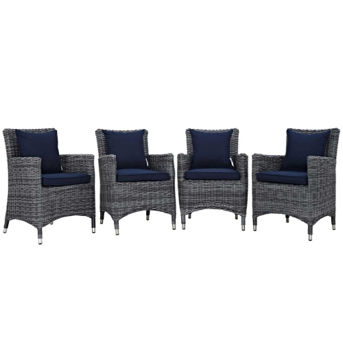 Summon 4 Piece Outdoor Patio Sunbrella Dining Set - Canvas Navy