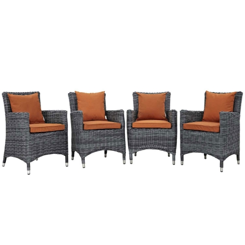 Summon 4 Piece Outdoor Patio Sunbrella Dining Set - Canvas Tuscan