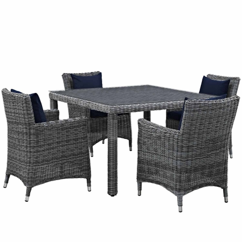 Summon 5 Piece Outdoor Patio Sunbrella Dining Set - Canvas Navy