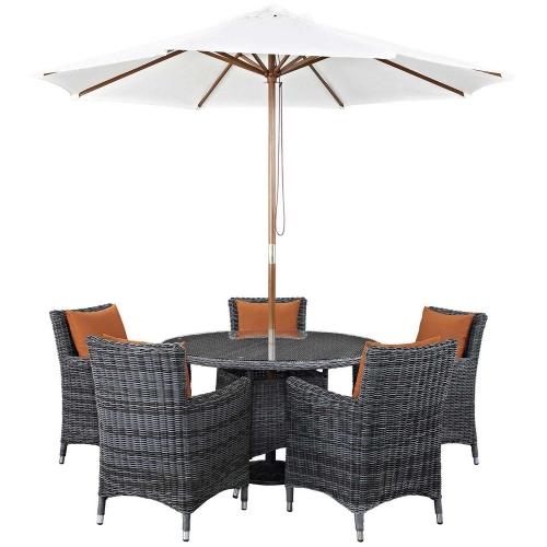 Summon 7 Piece Outdoor Patio Sunbrella Dining Set - Canvas Tuscan