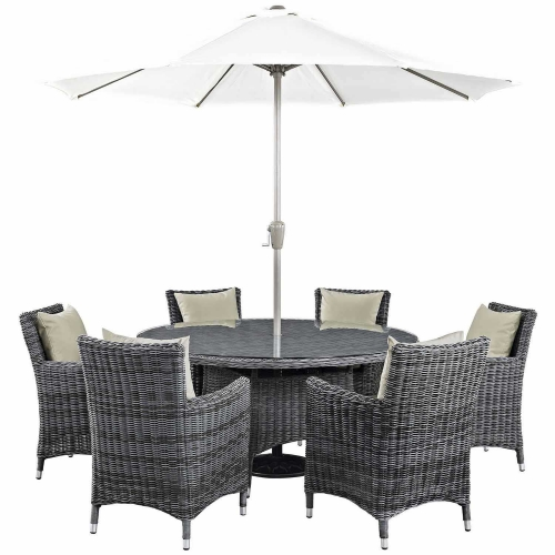 Summon 8 Piece Outdoor Patio Sunbrella Dining Set - Antique Canvas Beige