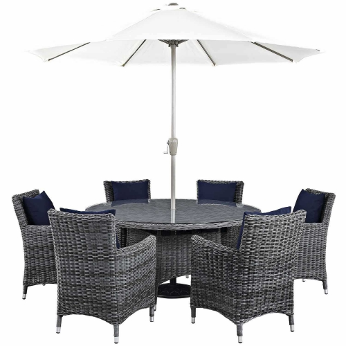 Summon 8 Piece Outdoor Patio Sunbrella Dining Set - Canvas Navy