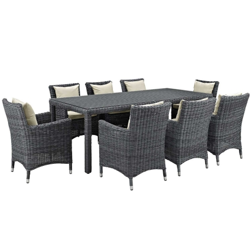 Summon 9 Piece Outdoor Patio Sunbrella Dining Set - Antique Canvas Beige