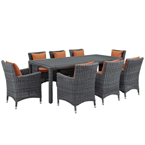 Summon 9 Piece Outdoor Patio Sunbrella Dining Set - Canvas Tuscan