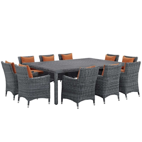 Summon 11 Piece Outdoor Patio Sunbrella Dining Set - Canvas Tuscan