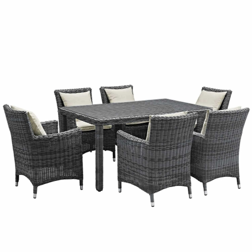 Summon 7 Piece Outdoor Patio Sunbrella Dining Set - Antique Canvas Beige