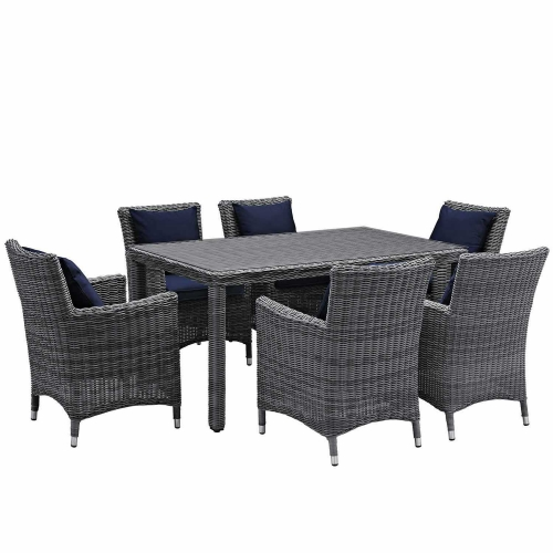 Summon 7 Piece Outdoor Patio Sunbrella Dining Set - Canvas Navy