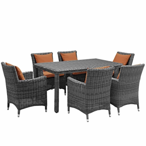 Summon 7 Piece Outdoor Patio Sunbrella Dining Set - Canvas Tuscan
