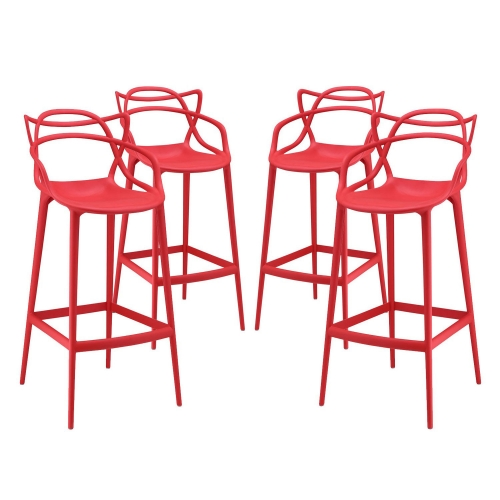 Entangled Bar Stool Set of 4 - Red