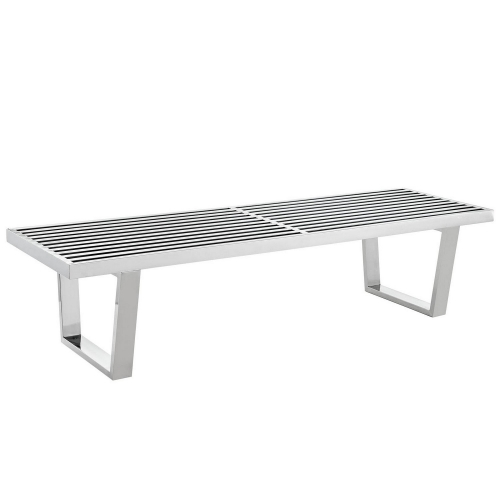 Sauna 5 Foot Stainless Steel Bench - Silver