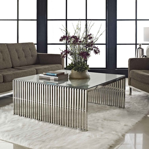 Gridiron Coffee Table - Silver