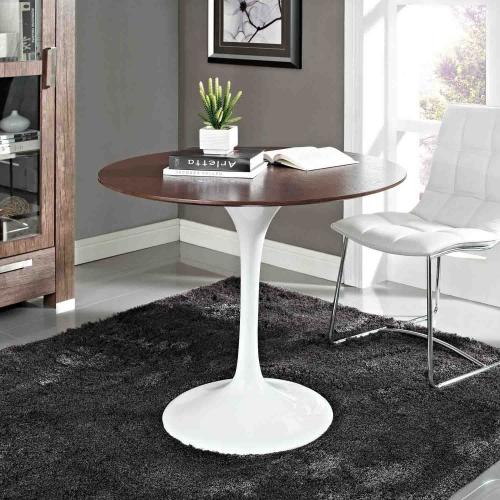 Lippa 36 Walnut Dining Table - White