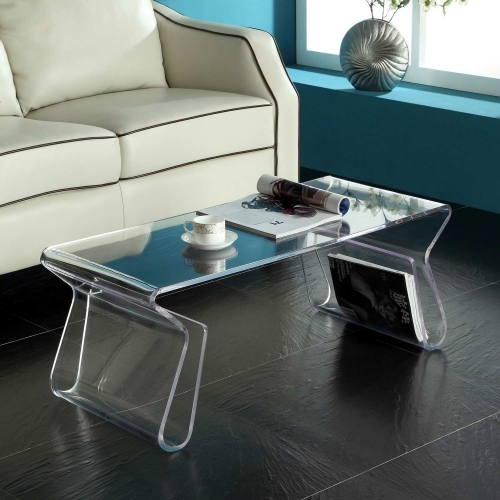 Magazine Acrylic Coffee Table - Clear