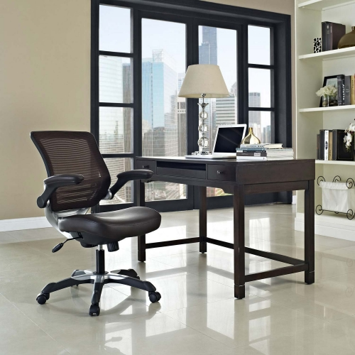 Edge Vinyl Office Chair - Brown