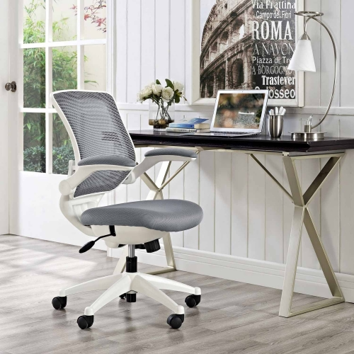 Edge White Base Office Chair - Gray
