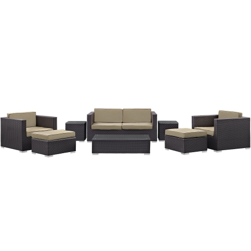 Venice 8 Piece Outdoor Patio Sofa Set - Espresso/Mocha