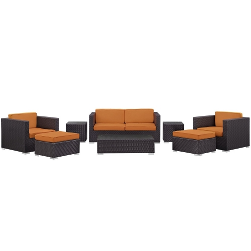 Venice 8 Piece Outdoor Patio Sofa Set - Espresso/Orange