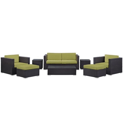 Venice 8 Piece Outdoor Patio Sofa Set - Espresso Peridot