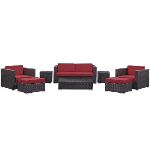 Venice 8 Piece Outdoor Patio Sofa Set - Espresso/Red