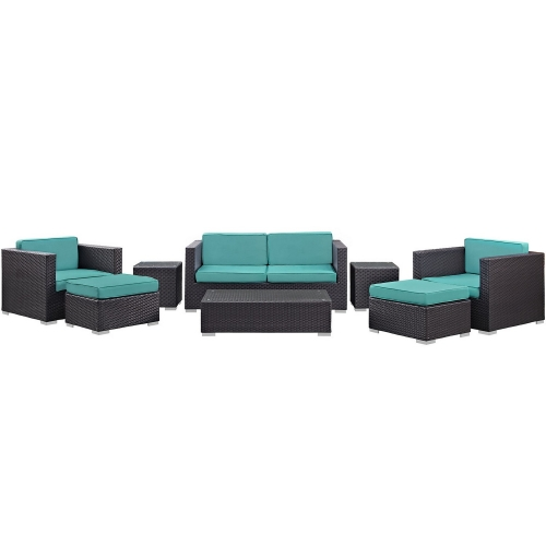 Venice 8 Piece Outdoor Patio Sofa Set - Espresso/Turquoise